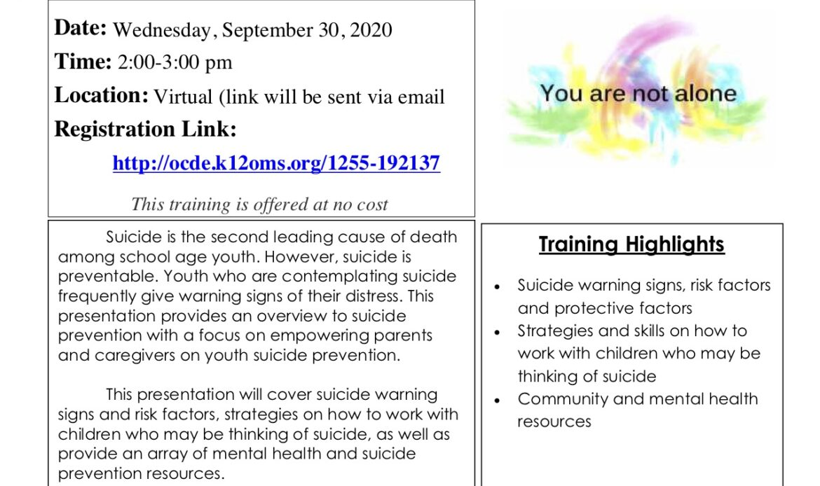 OCDE to hold Youth Suicide Awareness webinar for parents to learn early warning signs