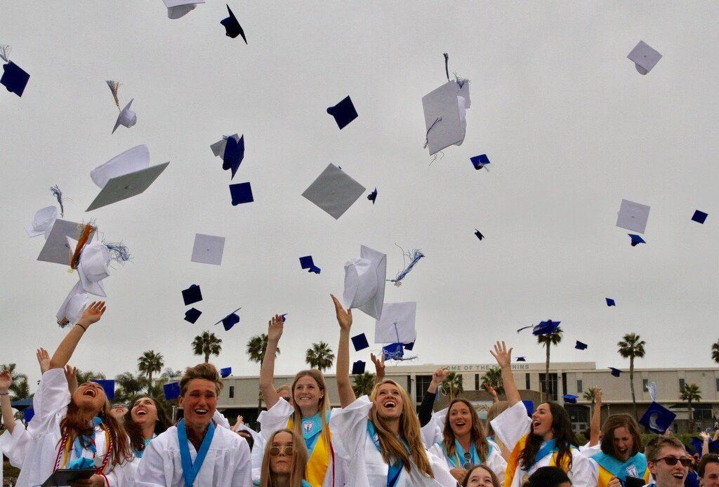 Graduates Ride Scooters into Dana Hills High School Commencement