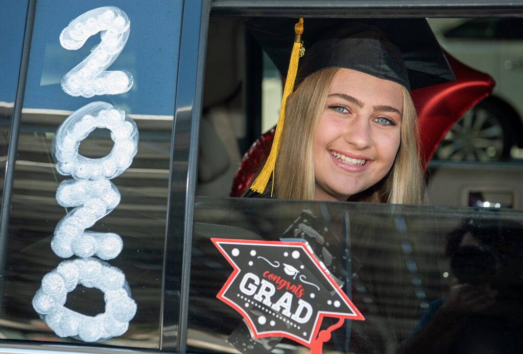 San Clemente High School graduates celebrate with cars, limos — even a trolley