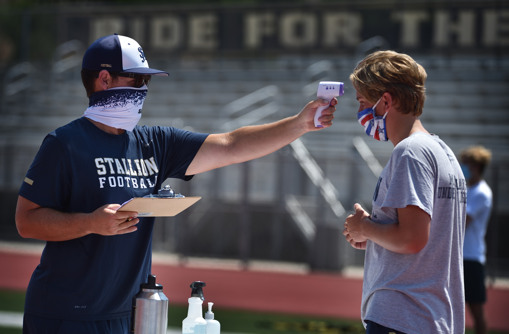 San Juan Hills football team happy to be back on the field, even if it's just working out