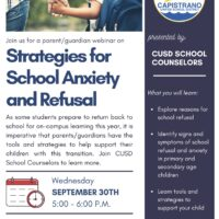 CUSD hosts Strategies for School Anxiety and Refusal webinar Sept. 30